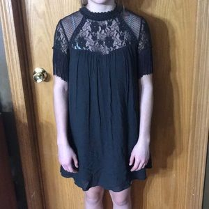Taylor & Sage Grey Fringe Lace Halter Mini Dress